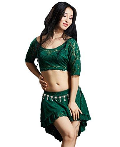 Kostüm Indische Billig - YiiJee Damen Bauchtanz Kostüm Indischer Tanz Tops Bauchtanz Mini Belly Dance Rock Dunkel Grün