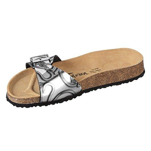 JOE N JOYCE Porto SynSoft Mirror sottopiede morbido Logo sandali stretto  Silver Signature ...