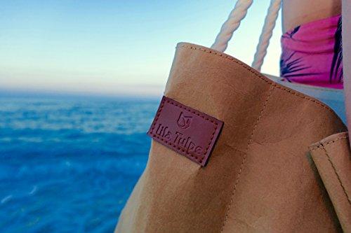 lila Tulpe - Shopper Holly - hochwertige Damen Handtasche / Schultertasche / Einkaufstasche aus waschbaren Papier mit Lederoptik / veganes Leder / leicht, reißfest und wasserbeständig - 6