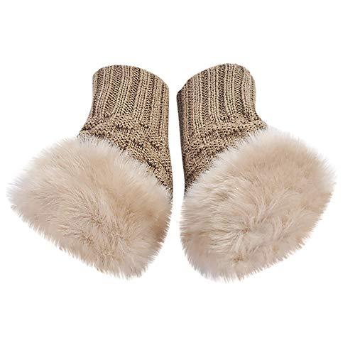 Gants Chauds Doublure Polaire EléGant Femme, Gants En Tricot New Arm Mitaines Gloves Pas Cher (Kaki)