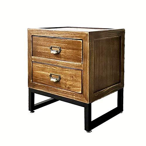 Zr- comodino, comodino vintage in legno massello, cassettiera in stile industriale, tavolino in ferro, con 2 cassetti