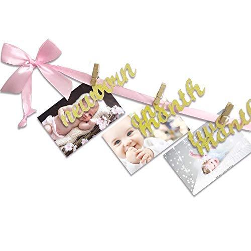 SEALEN Baby 1. Geburtstags Deko Foto Banner zum Neugeborenes bis 12 Monate, Zuerst Geburtstag Fotograf Ammer Girlande, Baby Dusche Feier Dekorationen Zum Mädchen Jungs Prinzessin Baby Zimmer Dekor (Wäscheklammern Für Baby-dusche)
