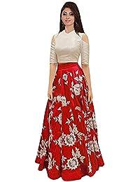 6496784020 The Kab's Women's Banglory Satin Semi-Stitched Lehenga Choli (Red,  Multicolour, Free