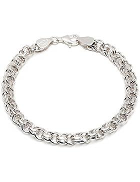 925 Silberarmband: Garibaldiarmband Silber rhodiniert mit der Breite 6,5mm und auswählbare Länge 19cm und 21cm