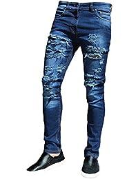 Yiiquan Pantalones Vaqueros Hombre Casual Roto Mezclilla Bordado de Rose Elástico Straight Fit Jeans XJiOhyfjD2
