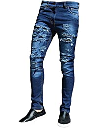Yiiquan Pantalones Vaqueros Hombre Casual Roto Mezclilla Bordado de Rose Elástico Straight Fit Jeans