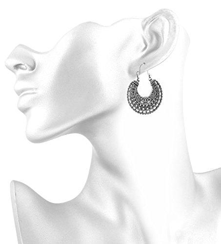 2LIVEfor Traumhafte Ohrringe Ethno Gross verziert Ohrringe Bohemian Vintage Ohrringe lang Hängend Antik Style Silber Ornament Rund (Zeichen, Formen & Symbole) - 4