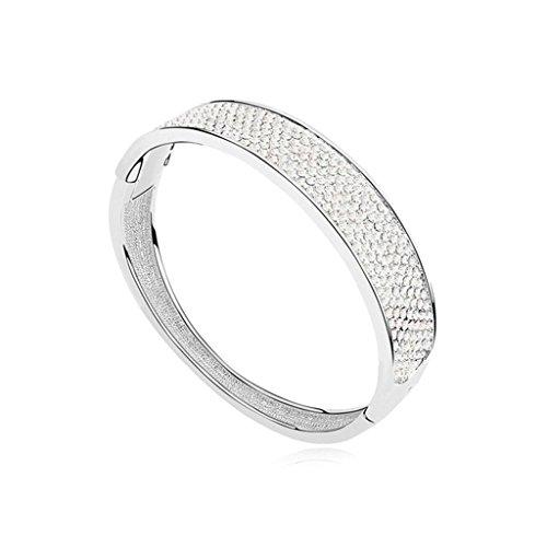 Beydodo Bracelet en Plaqué Or Blanc Pour les Femmes (Bangle-Bracelets),Cristal d'Autriche Blanc Oxyde de Zirconium 5.5X6CM