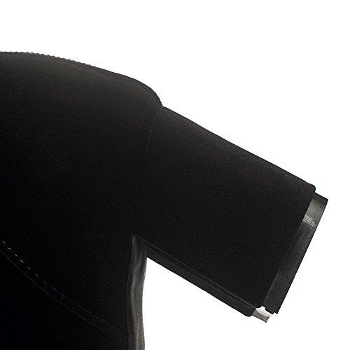 VogueZone009 Damen Rein Rund Zehe Mattglasbirne Rücken Stiefel mit Metall Schnalle Schwarz