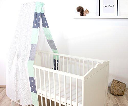 ULLENBOOM ® Baby-Betthimmel Mint Grau (135x200 cm Baldachin, Baumwolle, für 60x120 cm & 70x140 cm Kinderbett, Motiv: Punkte, Sterne, Patchwork)