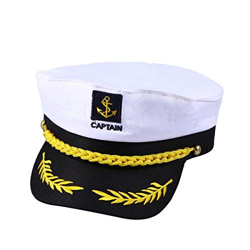 OULII Capitaine de yacht bateau navire Sailor Costume Chapeau Casquette Marine Marine amiral (blanc)