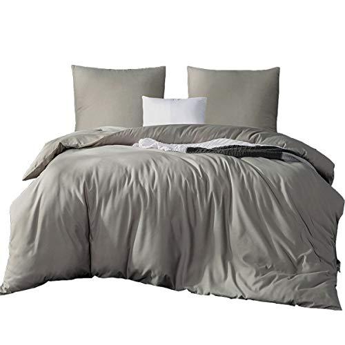 Bettwäsche Set 200 x 200 cm, Uni Grau 3 tlg. Bettwäsche 100% Super Weiche und Angenehme Mikrofaser, 1 x Bettbezug 200 x 200 mit Reißverschluss, 2 x Kissenbezüge 80 x 80, grau