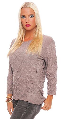 Zarmexx Damen Basic Shirt Crash Optik Crinkle Baumwollshirt Oberteil Bluse Business Casual Cappuccino