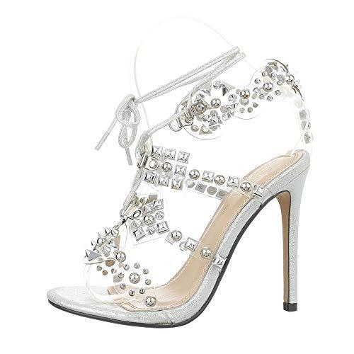 Ital-Design Damenschuhe Sandalen & Sandaletten High Heel Sandaletten Synthetik Silber Gr. 37