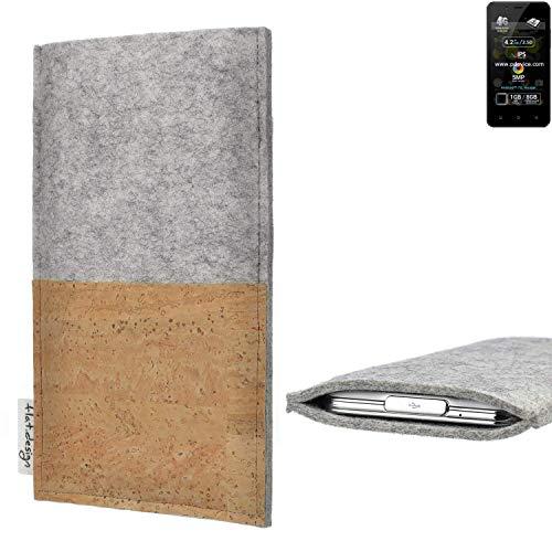 flat.design Handy Hülle Evora für Allview P4 Pro handgefertigte Handytasche Kork Filz Tasche Case fair grau