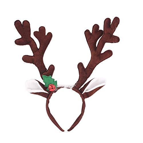 Cloud ROM CLOOM Weihnachts Haarschmuck Kopfbügel Stirnband Geweih Weihnachtsschmuck Kopf verkleiden Zubehör Weihnachten Cap Frauen Mädchen Weihnachten Stirnband Festival Haarband Zubehör (Braun)