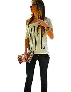 Camisetas Manga Corta Un Hombro Mujer Anchas Verano Personalizadas Camisas LOVE Estampadas de Mujer Camiseta Casual...
