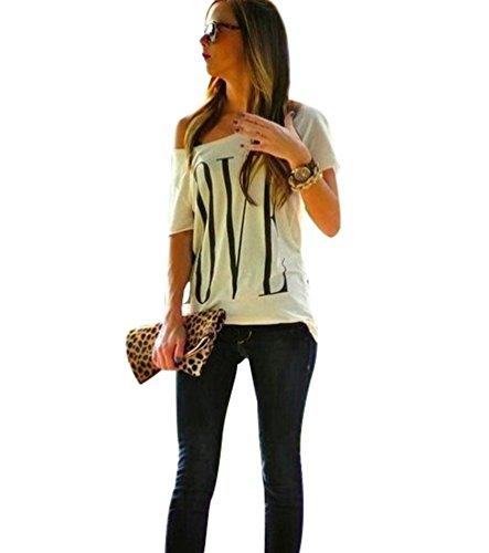 Maglietta T Shirt Donna Magliette Maniche Corte Camicie Top Estive Blusa Eleganti Divertenti Magliette Maniche Corte Spalla Scoperta con Scritte LOVE Maglia Girocollo Femminili Maglie Top Bianco