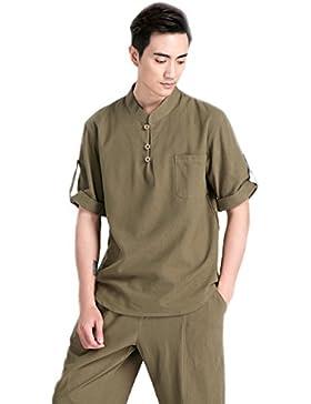 BaronHong Camicia in cotone di lino tinta unita a manica lunga da uomo