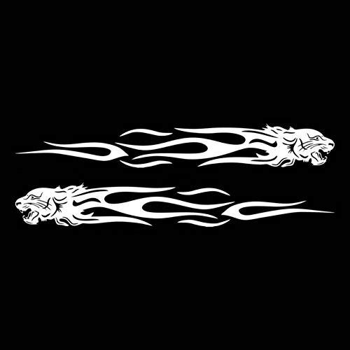 SCLZRR Autoaufkleber 2 Stücke Tiger Flame Totem Auto Aufkleber Aufkleber Reflektierende 22 cm Motorräder Aufkleber Dekoration Kreative Mode Auto Styling Aufkleber (White Tiger Wandtattoo)