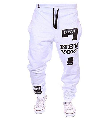 Los hombres pantalones de chándal nuevo número York 7 Deporte Pantalones Pantalones...