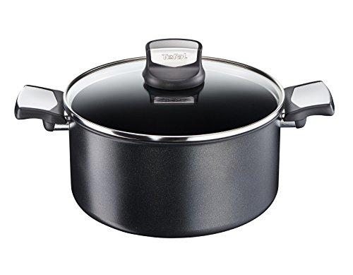 Tefal Cacerola de 20 cm, Aluminio, Negro