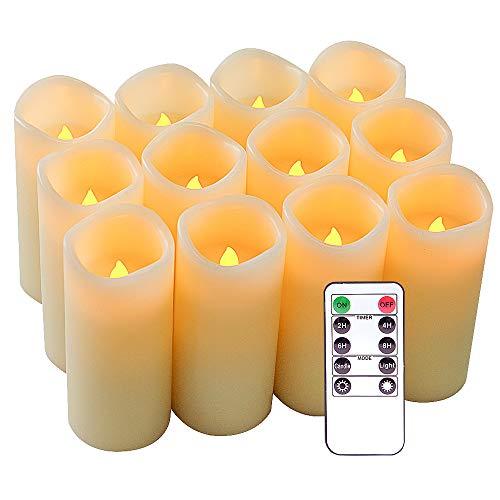 """Eldnacele flammenlose Kerzen flackernde echte Wachs batteriebetriebene LED-Säule mit Fernbedienung und Timer Kerzen Elfenbein Set von 12 (D2.2""""X H5"""") warmes weißes Licht für die Dekoration"""