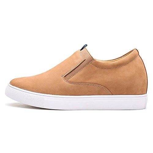 CHAMARIPA Chaussures DAscenseur Pour Hommes Décontractées Chaussures en Cuir Souple à Talons en Cuir Slip-On Plus 6cm Taller - H72C55K111D Marron