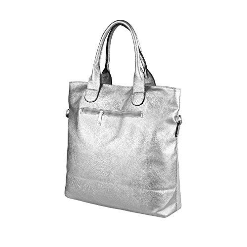 OBC ital-design XXL DAMEN STERN SHOPPER Tasche Canvas Schultertasche sportliche Stofftasche CrossOver Umhängetasche Handtasche Strass Blogger Vintage Hellgrau-Silber 38x37x13