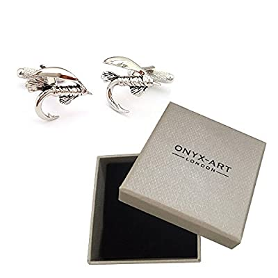 New Pair Of Silver Fly Fishing Hook Cufflinks & Gift Box by Onyx Art by Onyx Art