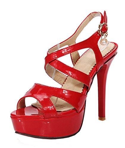 YE , Embout ouvert qui  laisse voir les orteils femme Rouge