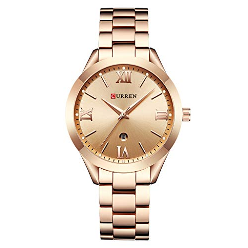 REALIKE Damen Armbanduhren Einfach Kalender Wasserdicht Lederband Uhren Elegant Ultradünn Britische Artart und Weise Quarzgeschäftsuhr Neue High End Quarzstahlband Geschäftsuhr Business Freizeit (Nixon-skelett-uhr)