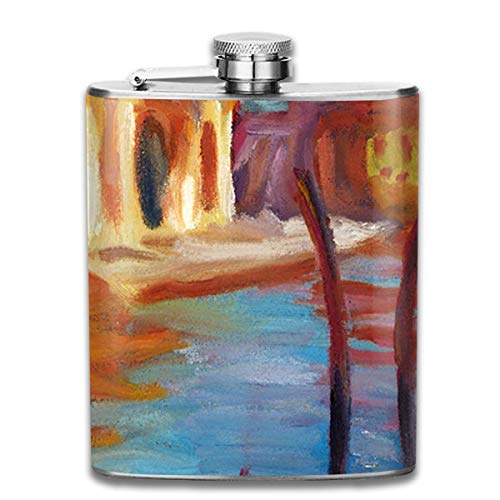 Abstract Tree Oil Painting Retro Portable 304 Stainless Steel Leak-Proof Alcohol Whiskey Liquor Wine 7OZ Pot Hip Flask Travel Camping Flagon for Man Woman Flask Great Little Gift -
