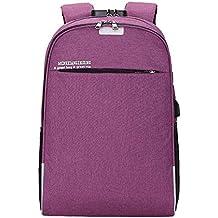 JiaMeng Mujer Trabajo Casual Backpack Antirrobo Impermeable Mochila Unisex USB Bolso Informal Mochila Bolsa de Viaje