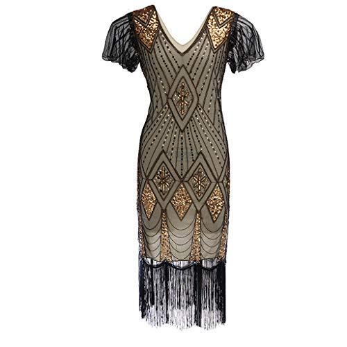 1920s Kleid Damen Flapper Kleid mit Kurzem Ärmel Gatsby Motto Party Damen Kostüm Kleid Damen Kostüm Kleid Piebo Frauen Rockabilly Kleider Cocktailkleid Strandkleider Bodycon - 1920 Motto Kostüm