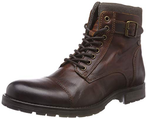 JACK & JONES Herren JFWALBANY Leather Brown Stone STS Biker Boots, Braun, 43 EU