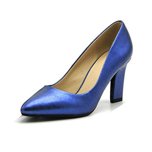 QPYC Scarpe col tacco alto da donna con tacco alto e tacco alto con tacco alto, bocca bassa, tinta unita alta con scarpe blue