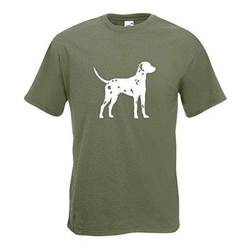 KIWISTAR - Dalmatiner Dalmatinac Hund T-Shirt in 15 verschiedenen Farben - Herren Funshirt bedruckt Design Sprüche Spruch Motive Oberteil Baumwolle Print Größe S M L XL XXL Olive