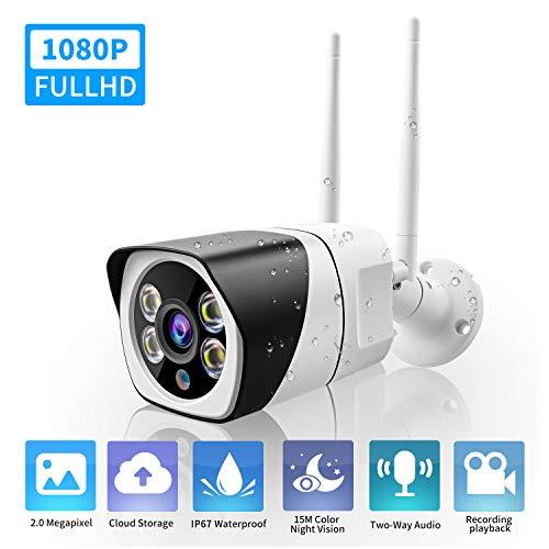 Outdoor WiFi Überwachungskamera 1080P, IP WLAN Kamera Wasserdichte drahtlose Überwachungskamera mit Color Night-Version, Zwei-Wege-Audio, max. 128 GB SD-Karte und Cloud-Speicher, kompatibel mit Alexa