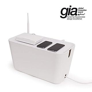 Cable Box XXL - White. 46x21,5x24,5 cm. Plastic, silicone