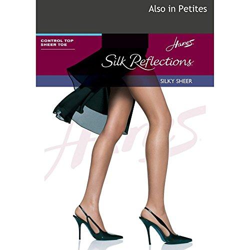 Hanes Silk Reflections Control Top Sheer Toe Pantyhose Barely Black