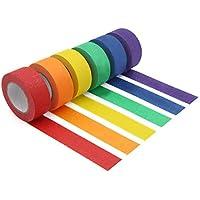 Vaorwne Ruban de Masquage Coloré, Ruban de Peintre Coloré pour le Bricolage,éTiquetage ou Codage,6 Rouleaux de Couleurs…