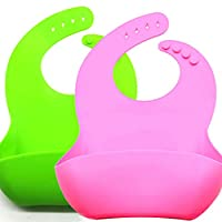 Emoly Silicone Baby Bibs, 2 Pack Adjustable Fit Waterproof Baby Bib for Girls and Boys Easily Wipe Clean with Food Catcher Pocket - Green& Pink