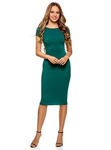 oodji Collection Damen Midi-Kleid mit Ausschnitt am Rücken, Grün, DE 40/EU 42/L