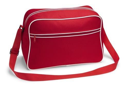 Retro Shoulder Bag im Design der Siebziger, Schultertasche Sporttasche aus Nylon mit Paspelierung in fünf trendigen Farben rot (Bag Rote Messenger Retro)