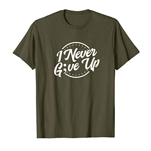 Yvelands Herren T-Shirts Sommer Mode Lässig Brief Solid Color Print Kurzarm T-Shirt Bluse(Armeegrün,XL)