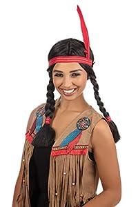 NEW INDIAN WIG HEAD DRESS FANCY DRESS POCAHONTAS (peluca)