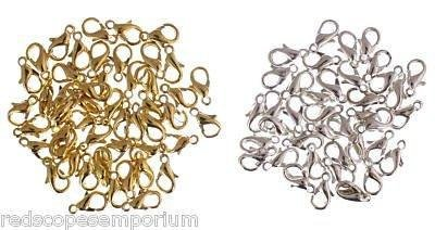 100-lobster-jewellery-making-clasps-10mm-50-each-gold-silver-plated