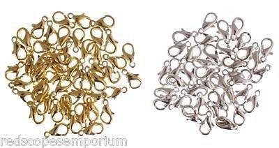 100-gioielli-100-chiusure-a-moschettone-10-mm-50-ogni-placcati-in-oro-e-argento