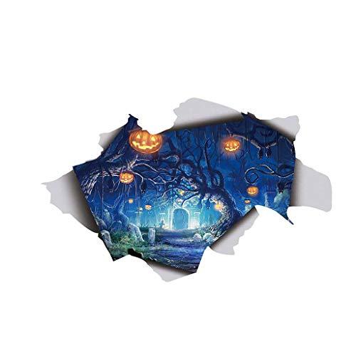 Junjie Halloween Grinsenkürbiskopf Wandaufkleber Individualität kreativ Geschnitzte Kürbis 3D Gebrochen Wandaufkleber Boden Vinyl Abnehmbare Aufkleber Wohnkultur Wandsticker Schlafzimmer Küche